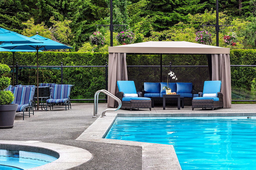 Lap pool and cabana at Fairmont Chateau Whistler