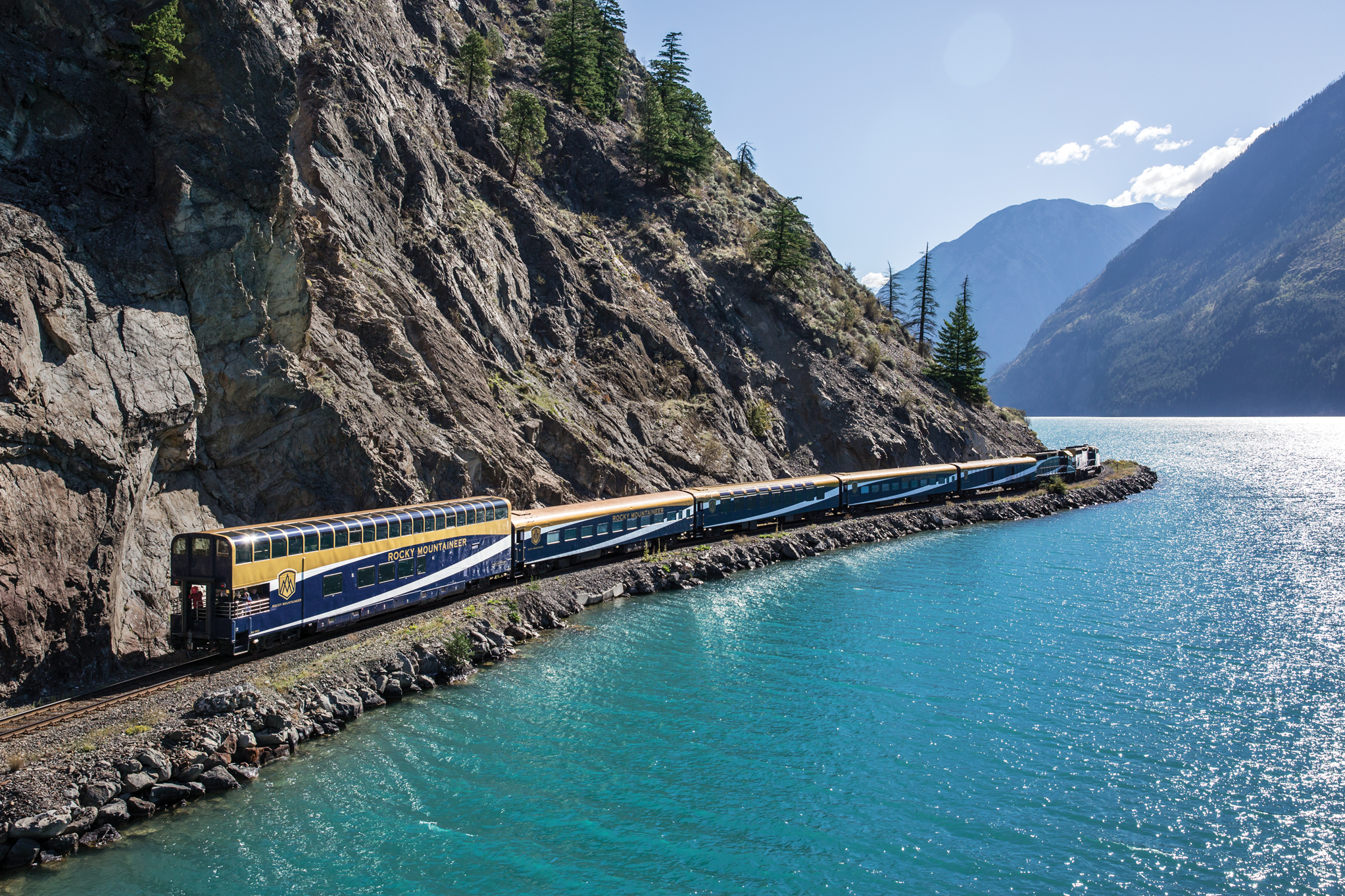 Rocky Mountaineer view by the lake