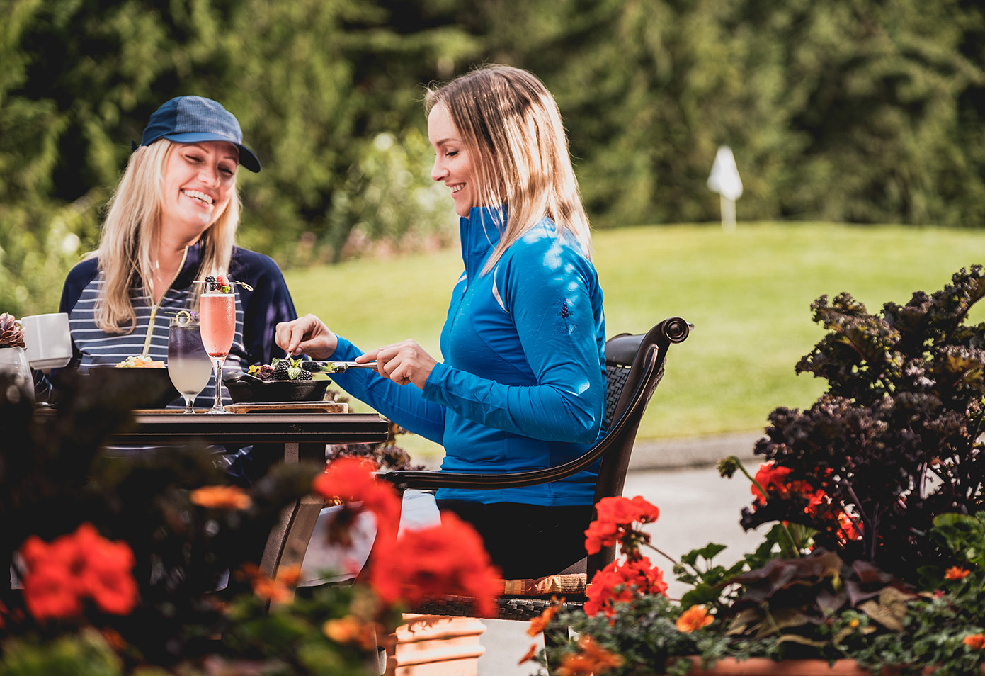 Patio breakfast at the golf course adjacent Whistler Chateau Whistler Clubhouse.