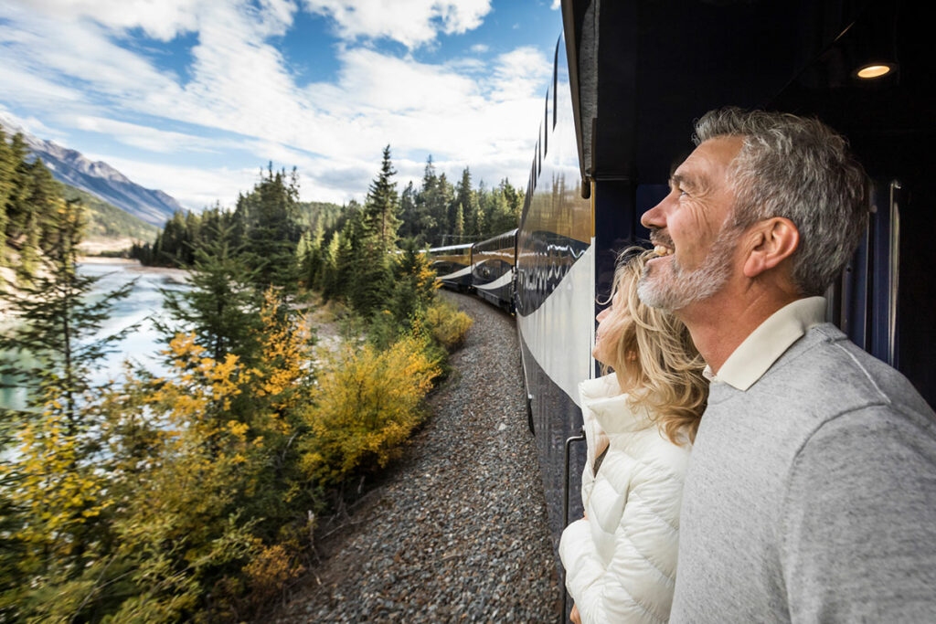 Couple travelling on the Rocky Mountaineer train.